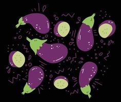 doodle set illustration avec aubergine sur fond noir vecteur