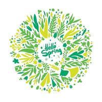bonjour couronne de printemps avec des feuilles et des fleurs. plantes printanières rondes en vert et jaune.
