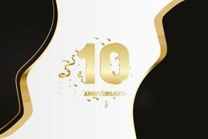 Célébration d'anniversaire de 10 ans. nombre d'or 10 avec des confettis étincelants vecteur