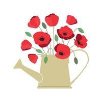 illustration vectorielle de bouquet de fleurs de pavot rouge vif en arrosoir isolé sur fond blanc vecteur