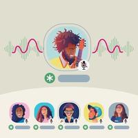 les gens utilisent des écouteurs, écoutent un smartphone, affichent à l'écran l'état des personnes utilisant des applications de réseautage social vecteur