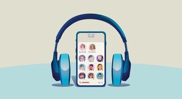 Un homme utilise des écouteurs, écoute un smartphone, affiche le statut des personnes utilisant des applications de réseautage social vecteur