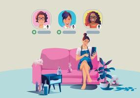 Une femme utilise des écouteurs, écoute un smartphone, affiche le statut des personnes utilisant des applications de réseautage social vecteur