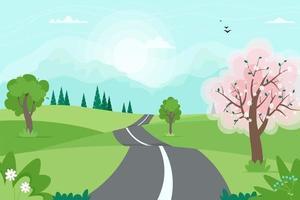 joli paysage de route de printemps avec des montagnes. illustration vectorielle dans un style plat vecteur
