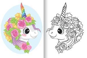 Coloriage licorne avec corne et fleurs colorées vecteur
