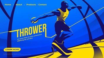 illustration vectorielle pour ui ou page de destination de lancer le sport du disque mettant en vedette un athlète masculin se concentrant sur le lancer vecteur