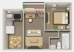 Plan détaillé de l'intérieur de l'appartement vue de dessus vecteur