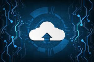 réseau en nuage téléchargeant diverses informations via des systèmes numériques.
