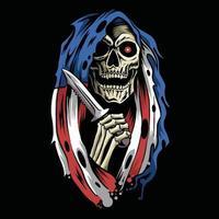 Ange de la mort grim reaper avec cape capuche drapeau américain tenant un poignard vecteur