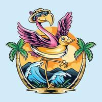 flamant rose avec bouée de canard en caoutchouc sur la plage en été vecteur
