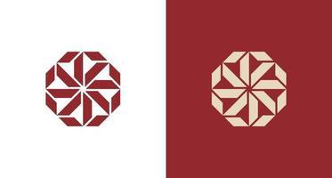 logo de fleur octogonale géométrique abstraite vecteur