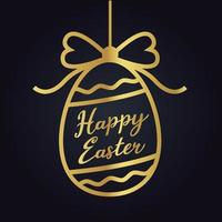 Joyeuses Pâques silhouette d'oeuf d'or vecteur