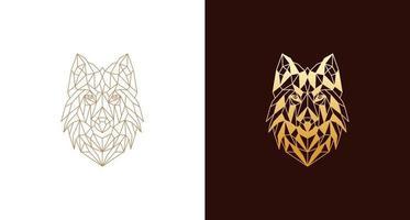 logo abstrait illustration tête de loup élégant vecteur