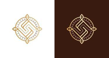 emblème de badge logo lettre de luxe abstraite s vecteur