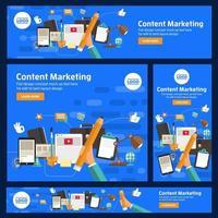 ensemble de bannières de marketing numérique vecteur