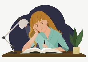 illustration vectorielle d'une jeune fille à un bureau. une élève fait ses devoirs tard le soir. le concept de devoirs difficiles et impossibles. dessin dans un style plat. vecteur