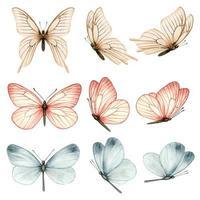 belle collection de papillons aquarelle dans différentes positions vecteur