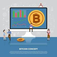 concept de design plat de crypto-monnaie bitcoin vecteur