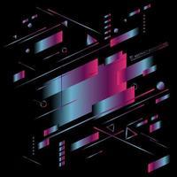 Abstrait bleu et rose dégradé de couleur lumineuse diagonale géométrique néon vibrant sur fond noir. vecteur