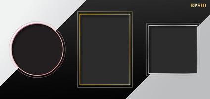 ensemble de rectangle géométrique gris blanc, carré, cadre de cercle doré, or rose, bordure argentée sur fond rayé blanc et noir. vecteur