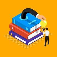 les livres contiennent des connaissances et de grandes idées, un style d'illustration plat vecteur