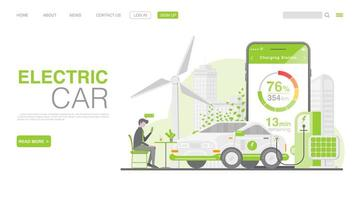 voiture ev ou voiture électrique à la borne de recharge. illustration de concept pour un environnement vert. page de destination dans un style plat. vecteur eps 10
