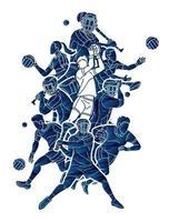football gaélique et action de joueurs sportifs hurlant vecteur