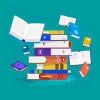 éducation et apprentissage avec des livres, style d'illustration plat vecteur
