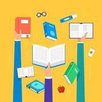 éducation et apprentissage avec des livres, style illustration plat vecteur