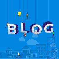 équipe au travail pour construire le mot blog vecteur