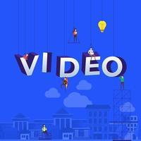 équipe au travail pour construire le mot vidéo vecteur