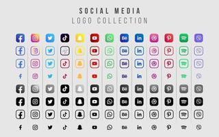 collection d'icônes de médias sociaux pour le web et l'impression vecteur