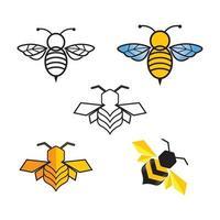 ensemble d'images logo abeille vecteur