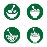 ensemble d & # 39; images de médecine naturelle logo images vecteur