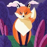 portrait illustration colorée de mignon renard roux dans la forêt au coucher du soleil. animal sauvage dessiné à la main. vecteur