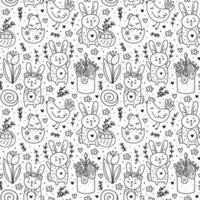 joyeuses fêtes de Pâques doodle dessin au trait monochrome. lapin, lapin, gâteau, poulet, œuf, poule, fleur. modèle sans couture, texture. conception d'emballage. isolé sur fond blanc. vecteur