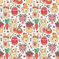 joyeuses fêtes de Pâques doodle dessin au trait. lapin, lapin, croix chrétienne, gâteau, poulet, œuf, poule, fleur, carotte. modèle sans couture, texture, arrière-plan. conception d'emballage.