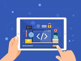 éducation en ligne à l'aide d'une tablette vecteur