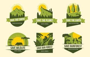 sauvez les badges de campagne de la terre et de la faune vecteur