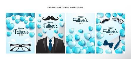 bonne collection de cartes de fête des pères vecteur