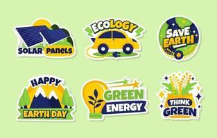 collection d'autocollants écologie vecteur