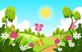 printemps avec concept de paysage vecteur