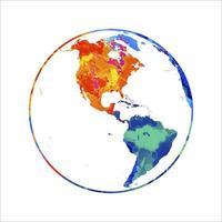 planète abstraite de la terre des éclaboussures d'aquarelles. globe de carte du monde. illustration vectorielle de peintures vecteur