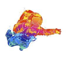 astronaute abstrait dans l'espace des éclaboussures d'aquarelles. illustration vectorielle de peintures