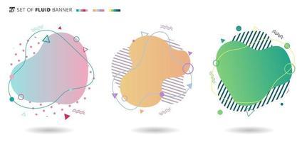 ensemble de formes fluides modernes colorées de bannière avec des éléments géométriques. vagues de gradient de conception liquide. vecteur
