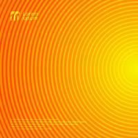 beau motif de lignes de cercle de mouvement radial sur fond abstrait de couleur dégradé orange et jaune et texture. vecteur