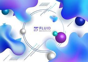 Forme irrégulière abstraite de couleur dégradé bleu fluide sur fond blanc avec élément géométrique. vecteur