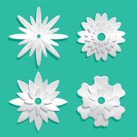 Vecteur 3d papercraft floral blanc