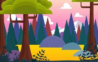 Illustration de paysage coloré de vecteur