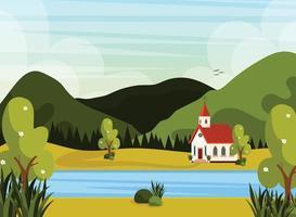 affiche de la rivière du paysage de l église vecteur